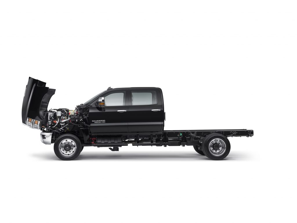 Side View of 2019 CHevrolet Silverado 4500HD with hood open