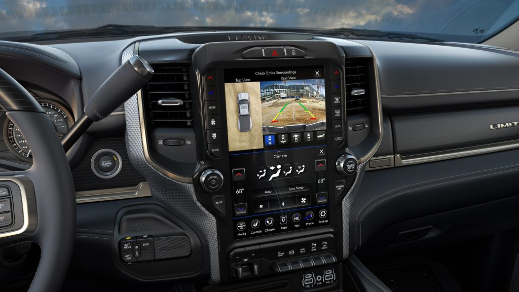 2019 Ram Heavy Duty 360 degree camera display on Uconnect 4C 12-inch touchscreen