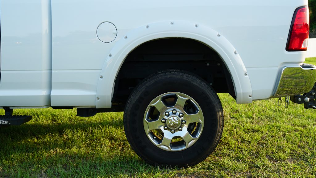 Rear Driver's side view of EGR Painted Fender Flares
