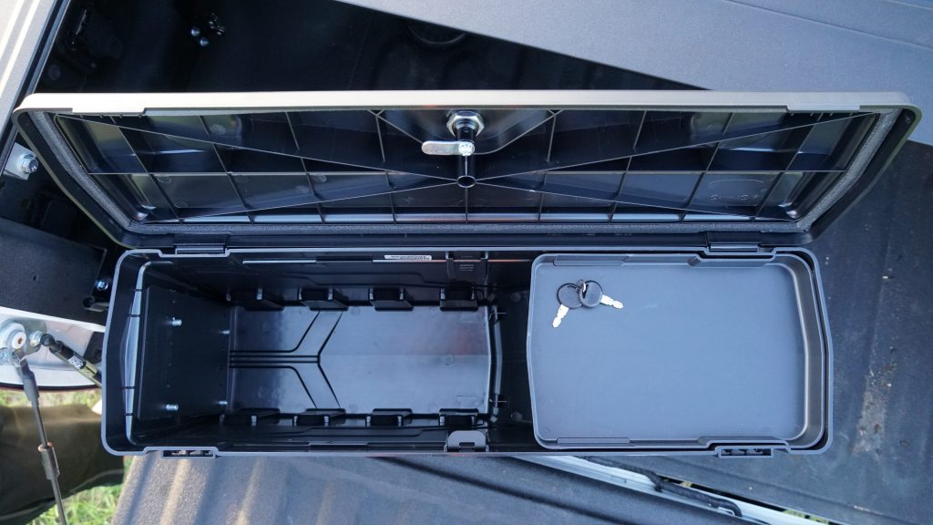 Open View of Undercover Swing Case tool box with top shelf