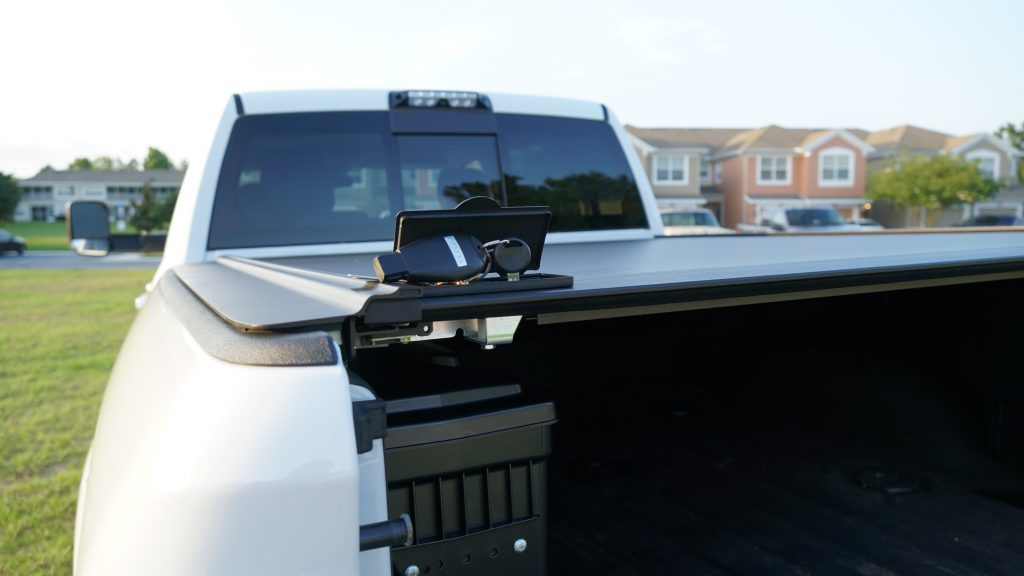 Gatortrax Cover can be locked or unlocked using a key without opening the tailgate.